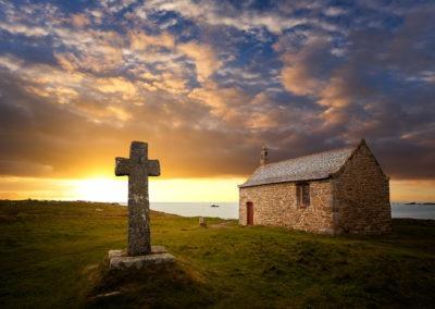 Coucher de soleil sur la chapelle St Samson