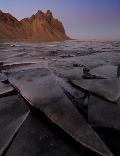 Lagune du Vestrahorn, Stokksnes, Höfn, Islande